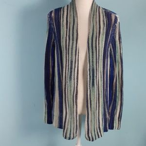 Chico's 2 sweater open linen cardigan blue knit